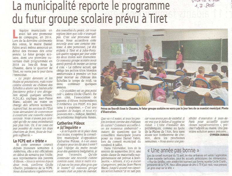 Report Projet Ecole Juillet 2016