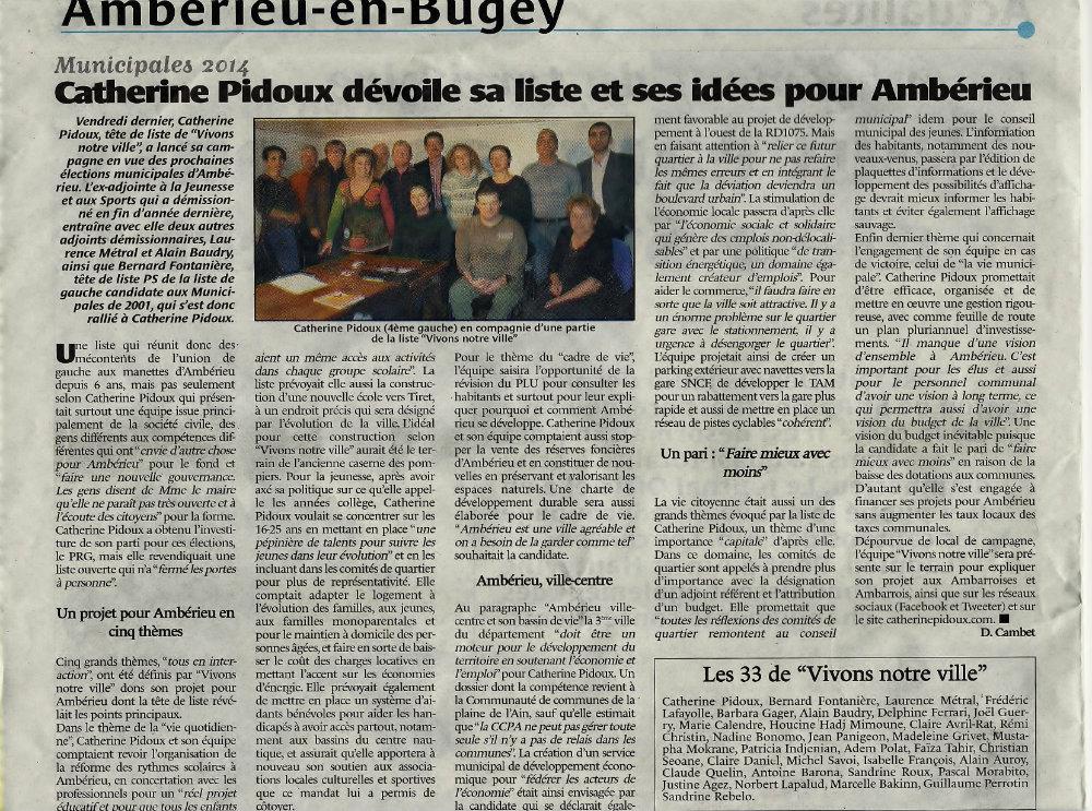 Le Journal du Bugey -- 27 février 2014